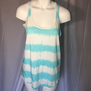 Isomiax Teal and white tie dye tank top